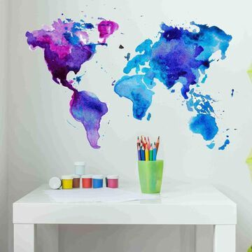Watercolor World Map Wall Decal Sticker