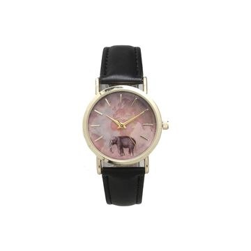 Olivia Pratt Elephant Unisex Adult White Leather Bracelet Watch-16249black