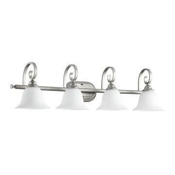 Quorum International 5053-4 Celesta 4 Light Bathroom Vanity Light Classic Nickel Indoor Lighting Bathroom Fixtures Vanity Light