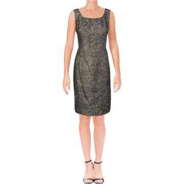 Kasper Womens Metallic Sleeveless Cocktail Dress