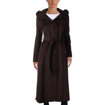 Ellen Tracy Women's Wool Blend Fox Fur Trim Belted Maxi Trench Coat