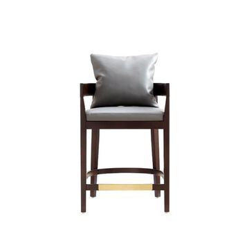 Manhattan Comfort Ritz Grey and Dark Walnut Counter height (22-in to 26-in) Upholstered Bar Stool Leather in Gray | CS006-GY