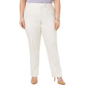Anne Klein Womens Plus Straight Leg Pants Solid Mid-Rise