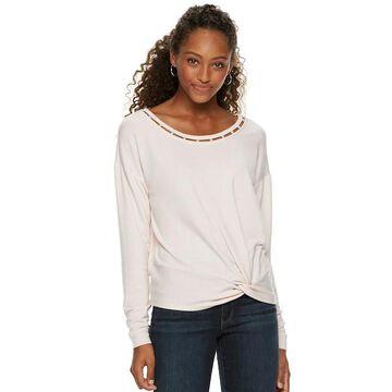 Juniors' Candie's Simulated Pearl Twist Front Sweatshirt