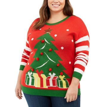 Trendy Plus Size Holiday Tree Sweater