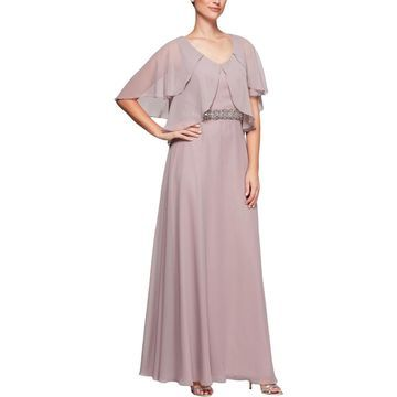 Alex Evenings Womens Evening Dress Embellished Chiffon