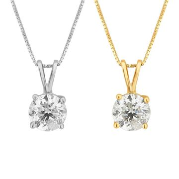 Divina 14KT White and Yellow Gold 1.00ct TDW Diamond Solitaire Pendant
