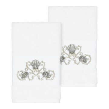 Authentic Hotel and Spa Turkish Cotton Shells Embroidered White 2-piece Towel Hand Set