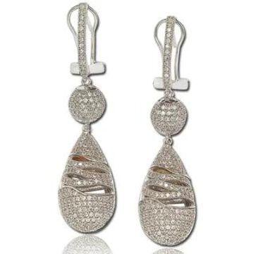 Suzy Levian Cubic Zirconia Sterling Silver Dangle Drop Earrings