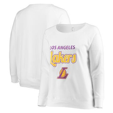 Los Angeles Lakers Soft as a Grape Women's Curvy French Terry Slouch Crew Neck Sweatshirt - White