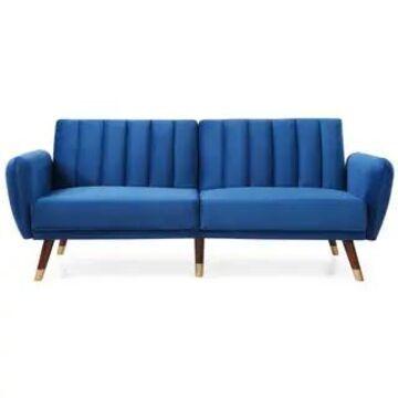 Siena Collection Sofa Bed in Velvet Upholstery (Navy Blue)