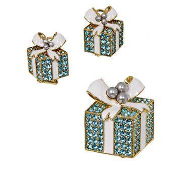 Heidi Daus Pave Package Crystal Pin and Earrings Set