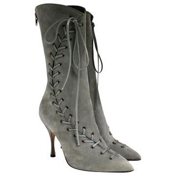 Manolo Blahnik Grey Suede Boots