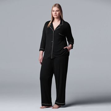 Plus Size Women's Simply Vera Vera Wang Basic Luxury Notch Pajama Set