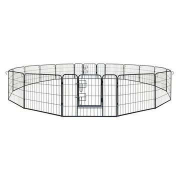 ALEKO Pet Playpen Dog Kennel Cage Fence 16 Panel - black