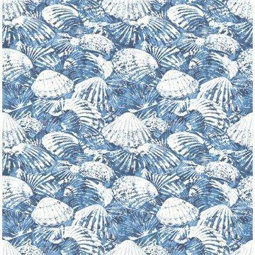 Brewster Surfside Blue Shells Wallpaper