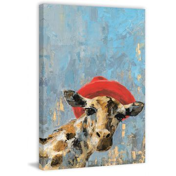 Marmont Hill - Handmade Giraffes Red Hat Print on Wrapped Canvas
