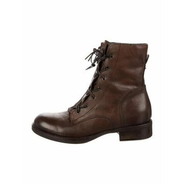 Leather Colorblock Pattern Combat Boots Brown