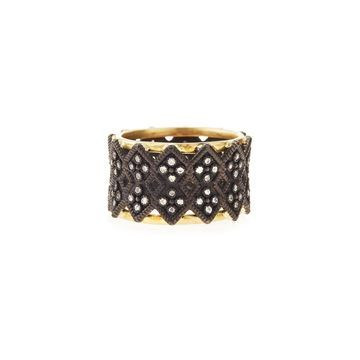 Double Crivelli Wide Band Ring, Size 6.5