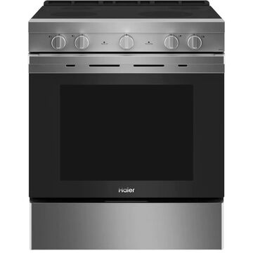 Haier Smart 30-in Smooth Surface 4 Elements 5.7-cu ft Steam Cleaning Convection Oven Slide-In Electric Range (Stainless Steel) | QSS740RNSS