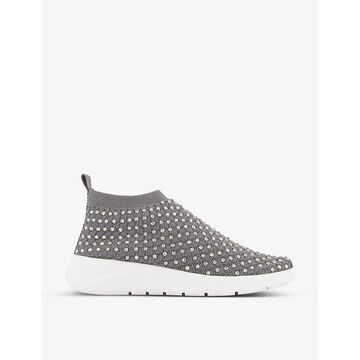 Dune Womens Grey-fabric Embers Crystal-embellished Sock Trainers 7