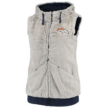 Women's Antigua Silver/Navy Denver Broncos Rant Hooded Full-Zip Vest