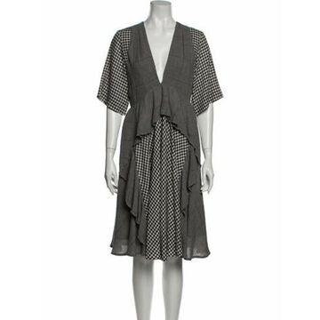 Plaid Print Knee-Length Dress w/ Tags Grey