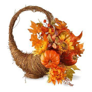 National Tree Company Autumn Cornucopia Basket, Orange