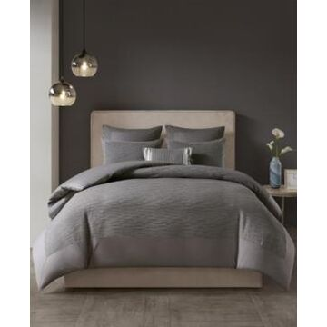 N Natori Hanae Full/Queen Cotton Blend Yarn Dyed 3 Piece Duvet Cover Set Bedding