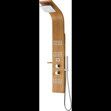 """Anzzi SP-AZ060 Crane 60"""" Thermostatic Shower Panel with Single Function Rain Shower Head with 3 Jet Body Sprays Natural Bamboo Showers Showerpanel"""
