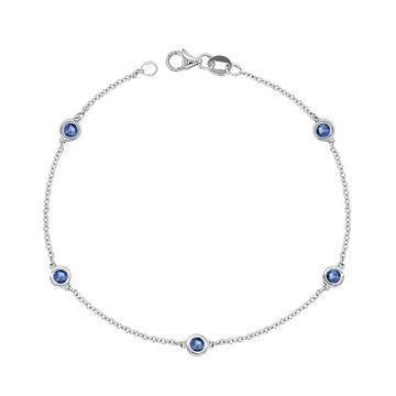 Noray Designs 14K Gold 0.60 Ct Blue Sapphire 5 Station Bracelet, 7 Inches