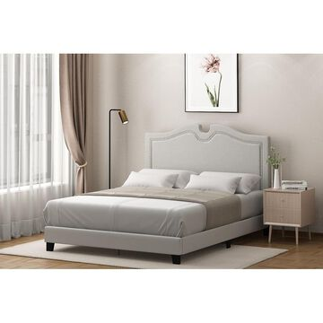 Furinno Jaci Nailhead Trim Bed Frame, Linen