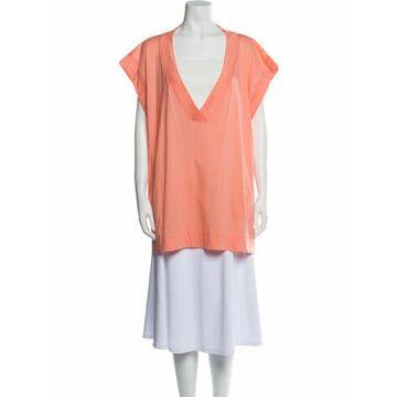 V-Neck Short Sleeve Tunic Orange