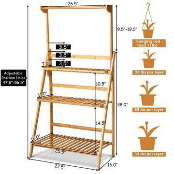 Goplus Costway 56.5-in H x 16-in W Brown Indoor or Outdoor Corner Composite Plant Stand | HW60295