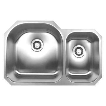 Whitehaus WHNDBU3120 Stainless Steel 31'' Double Bowl Undermount Sink