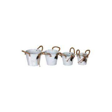 Vickerman Tin Containers Burlap Handle - Set Of 4 -