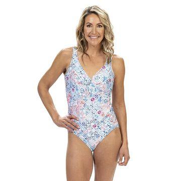 Women's Dolfin Aquashape Tummy Control Ruched One-Piece Swimsuit, Size: 12, Light Blue
