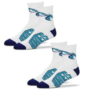 Charlotte Hornets For Bare Feet Women's 2-Pack Quarter-Length Socks