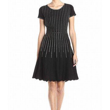 GABBY SKYE Black Gold Women Large L Dotted Stripe Sweater Dress