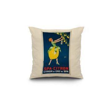 Belgium - Spa - Citron - (artist: Geo) - Vintage Advertisement (18x18 Spun Polyester Pillow, White Border)
