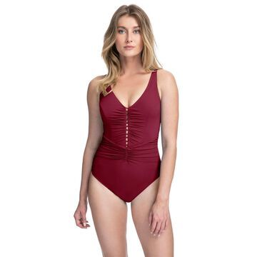Profile by Gottex Swimwear Tutti Frutti Merlot Over The Shoulder One Piece Swimsuit Size 14