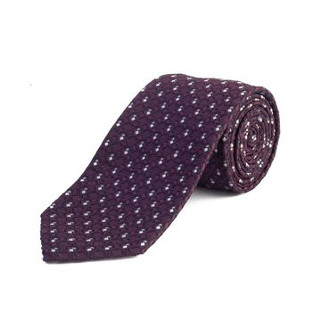 Ermenegildo Zegna Men's Silk Textured Patteren Tie Purple - No Size