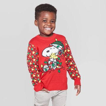 Toddler Boys' Peanuts Snoopy Holiday Lights Ugly Sweater -