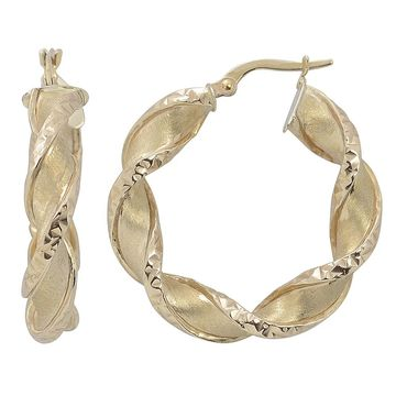 Fremada Italian 14k Yellow Gold Satin and Diamond-cut Finished Twisted Round Hoop Earrings (yellow gold)