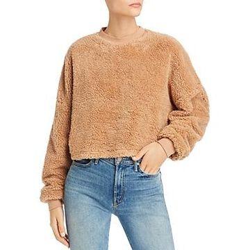 Bardot Cropped Teddy Faux-Fur Sweater