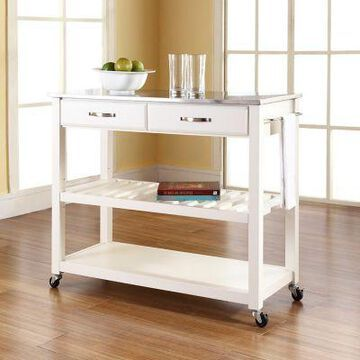 Crosley Stainless Steel Top Kitchen Cart with Stool Storage, KF30052BK