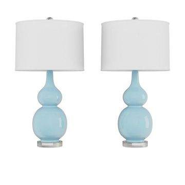 Lavish Home Set of 2 Ceramic Double Gourd Table Lamps, Blue