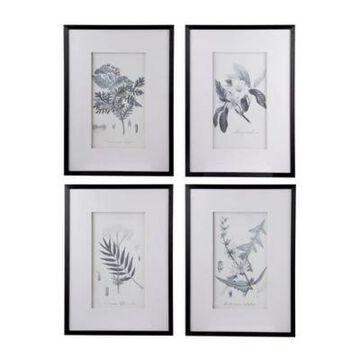 A&B Home Botanical Framed Wall Art (Set Of 4) Black