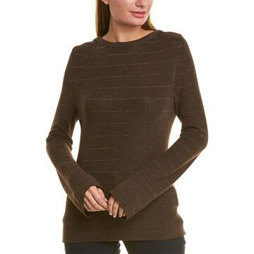 Piazza Sempione Metallic Stripe Wool & Silk-Blend Sweater