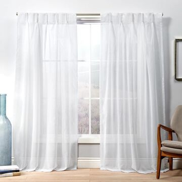 Exclusive Home 2-pack Penny Sheer Embellished Stripe Grommet Top Window Curtains